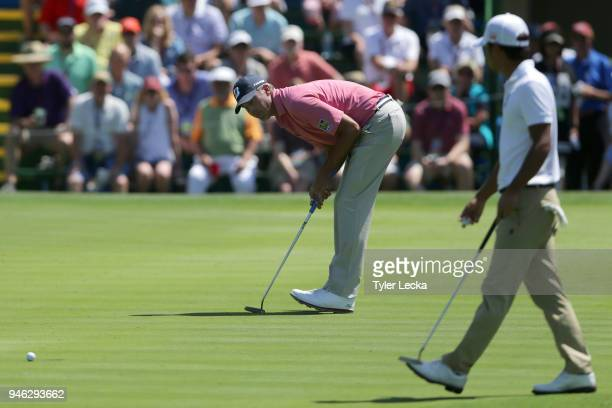 Matt Kuchar reacts to a missed putt attempt on the 10th green during the third round of the 2018 RBC Heritage at Harbour Town Golf Links on April 14...