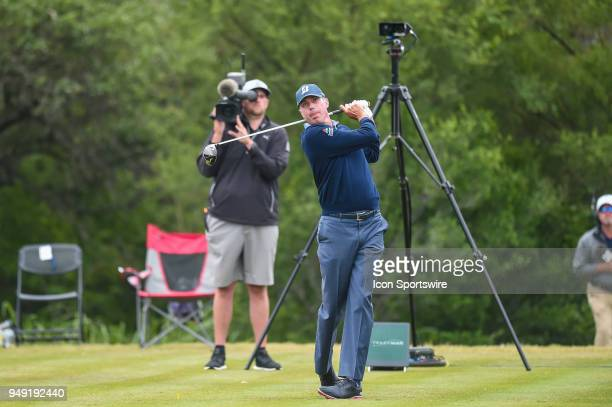 Matt Kuchar watches his drive during the second round of the Valero Texas Open at the TPC San Antonio Oaks Course in San Antonio TX on April 20 2018