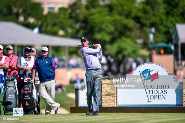 Matt Kuchar watches his drive on the 11th hole during the final round of the Valero Texas Open at the TPC San Antonio Oaks Course in San Antonio TX...