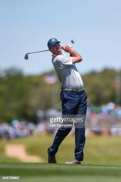 Matt Kuchar watches his shot during the first round of the Valero Texas Open at the TPC San Antonio Oaks Course in San Antonio TX on April 19 2018