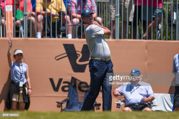 Matt Kuchar watches his tee shot during the first round of the Valero Texas Open at the TPC San Antonio Oaks Course in San Antonio TX on April 19 2018