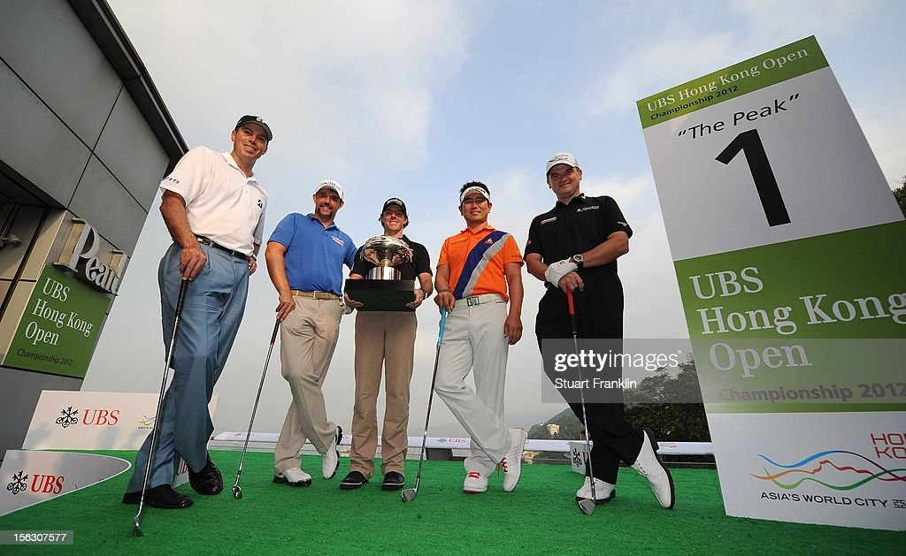 Matt Kucher of USA, Padraig Harrington of Ireland, Rory McIlroy of Northern Ierland, Y.E Yang of Korea and Paul Lawrie of Scotland pose during The 2012 UBS Hong Kong Open 'Meet the Players' Press Conference and Tournament Photo Call at The Peak Tower on November 13, 2012 in Hong Kong, Hong Kong.