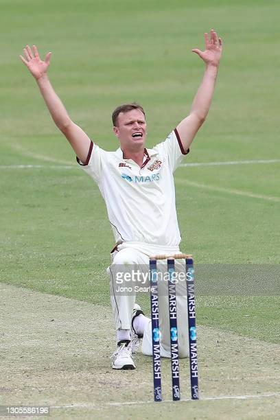 Matt Kuhnemann of the Bulls appeals during day one of the Sheffield Shield match between Queensland and Western Australia at The Gabba on March 06,...