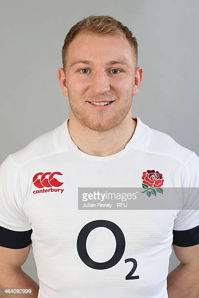 Matt Kvesic of England poses for a portrait during the England Six Nations Squad Photo Call at the Penny Hill Hotel on January 20 2014 in Bagshot...