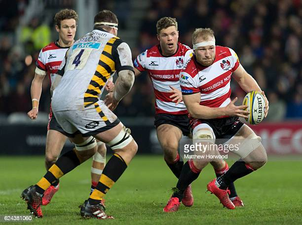 Matt Kvesic of Gloucester Rugby in action with the ball during the Aviva Premiership match between Gloucester Rugby and Wasps at Kingsholm Stadium on...