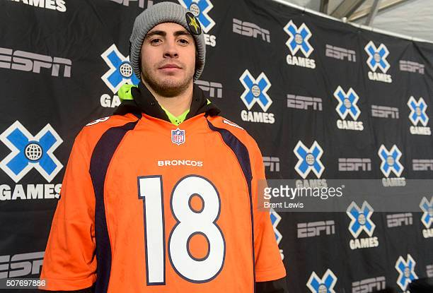 Matt Ladley from Steamboat Springs Colorado dons his Peyton Manning jersey which he wore during his gold medal winning run in men's snowboard...