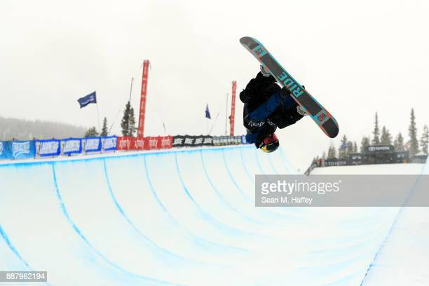 Matt Ladley of the United States competes in a qualifying round of the FIS Snowboard World Cup 2018 Men's Snowboard Halfpipe during the Toyota US...