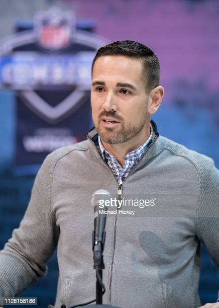 Matt LaFleur head coach of the Green Bay Packers is seen at the 2019 NFL Combine at Lucas Oil Stadium on February 28 2019 in Indianapolis Indiana