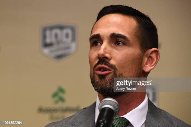 Matt LaFleur speaks during a press conference to be introduced as head coach of the Green Bay Packers at Lambeau Field on January 09 2019 in Green...