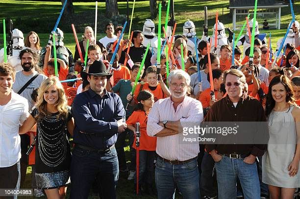 Matt Lanter, Ashley Eckstein, Dave Filoni, George Lucas, Cary Silver and Catherine Taber attend Star Wars: The Clone Wars Season 3 Premiere Event on...