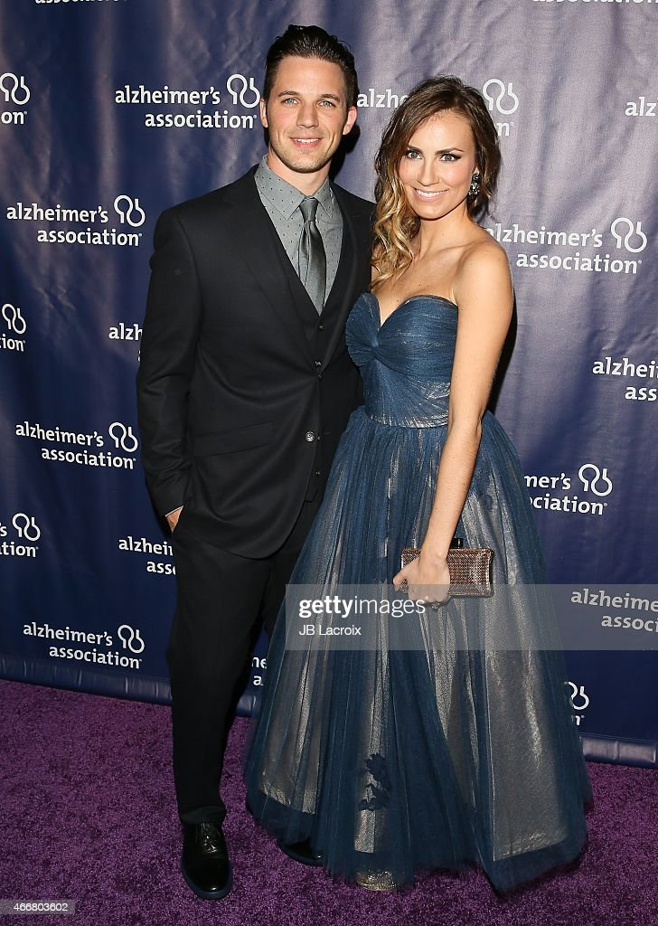 Matt Lanter, left, and Angela Lanter attend the 23rd Annual 'A Night At Sardi's' To Benefit The Alzheimer's Association at The Beverly Hilton Hotel on March 18, 2015 in Beverly Hills, California.