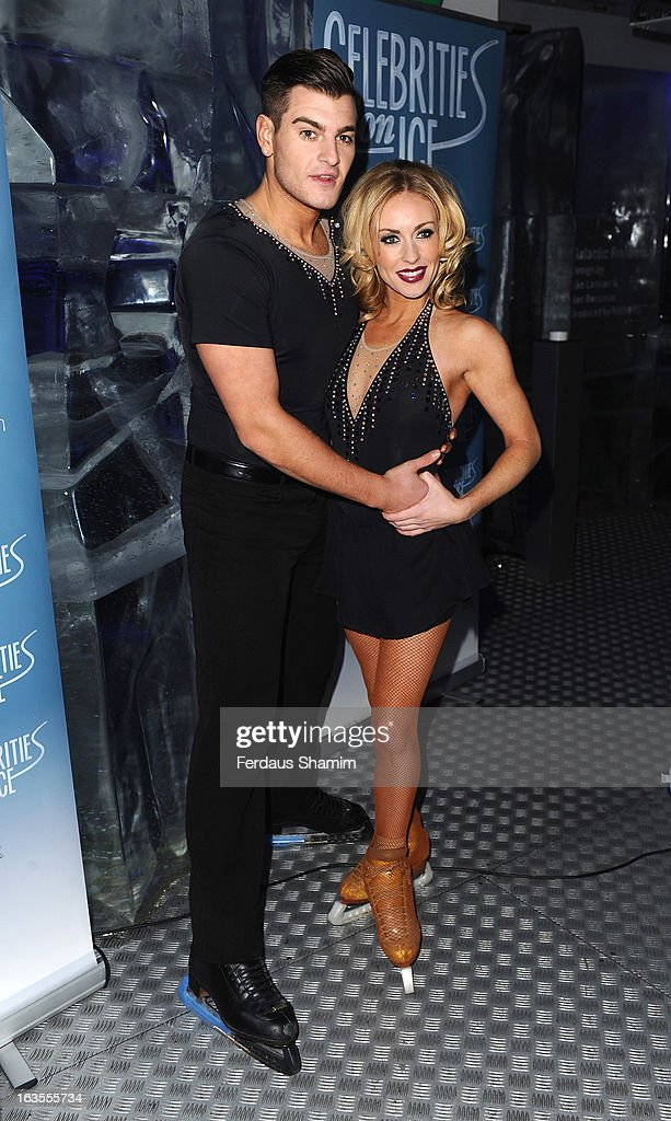Matt Lapinskas and Brianne Delcourt attend a photocall to announce the tour of Celebrities On Ice at The Ice Bar on March 12, 2013 in London, England.