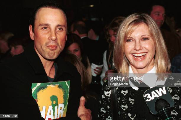 Matt Lattanzi and Olivia Newton John at the opening night post performance party of the musical Hair at the Melbourne concert hall. Melbourne,...