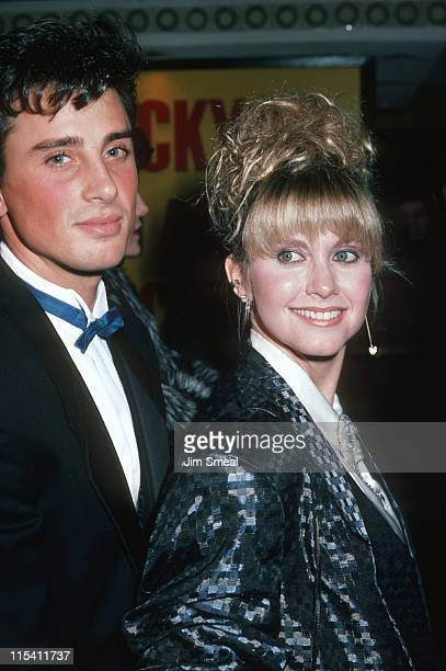 Matt Lattanzi and Olivia Newton John during 'Rocky IV' Los Angeles Premiere at Westwood Village Theater in Los Angeles California United States