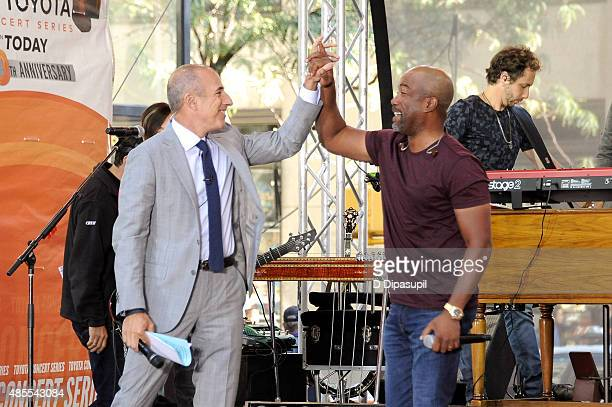 Matt Lauer and Darius Rucker attend NBC's 'Today' at Rockefeller Plaza on August 28 2015 in New York City
