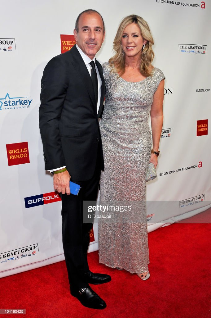 Matt Lauer (L) and Deborah Norville attend the Elton John AIDS Foundation's 11th Annual 'An Enduring Vision' Benefit at Cipriani Wall Street on October 15, 2012 in New York City.