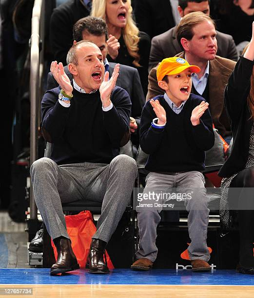 Matt Lauer and Jack Lauer attend the Milwaukee Bucks vs New York Knicks game at Madison Square Garden on March 25 2011 in New York City
