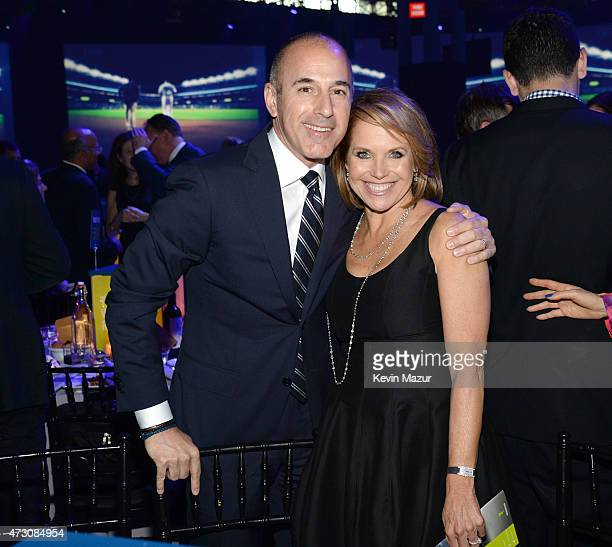 Matt Lauer and Katie Couric attend The Robin Hood Foundation's 2015 Benefit at Jacob Javitz Center on May 12 2015 in New York City