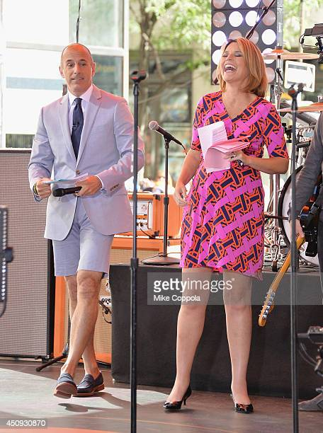 Matt Lauer and Savannah Guthrie speak to the crowd on NBC's 'Today' at the NBC's TODAY Show on June 20 2014 in New York New York