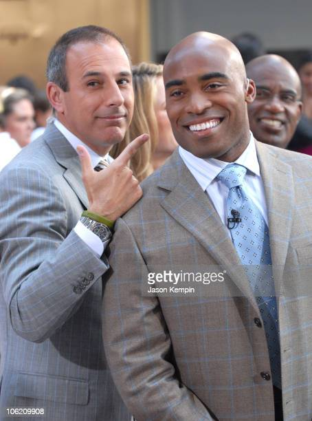 Matt Lauer and Tiki Barber during Jordin Sparks and Blake Lewis Visit The Today Show May 31 2007 at Rockefeller Center in New York City New York...