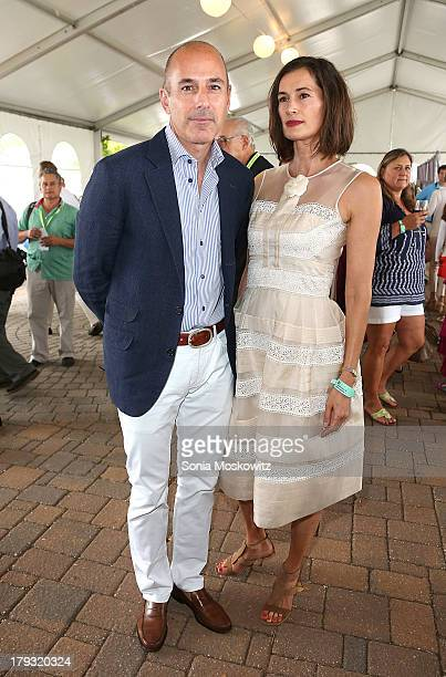 Matt Lauer and wife Annette Roque Lauer attend the 38th Annual Hampton Classic Horse Show Grand Prix Sunday on September 1 2013 in Bridgehampton New...