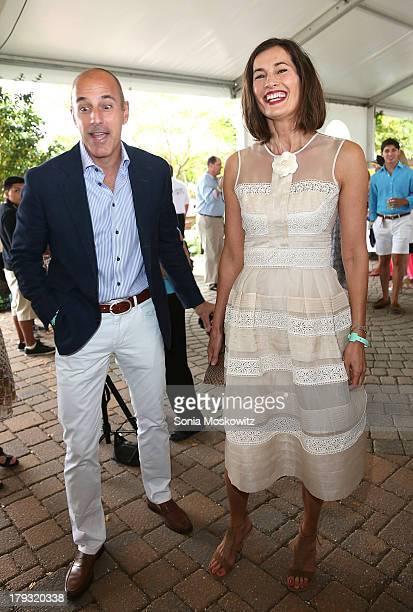Matt Lauer and wife Annette Roque Lauer attend the 38th Annual Hampton Classic Horse Show Grand Prix Sunday on September 1 2013 in Bridgehampton New...