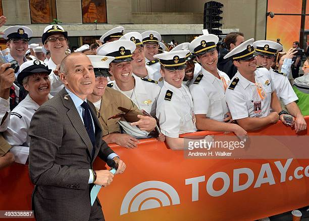 Matt Lauer greets US Navy sailors on NBC's Today at the NBC's TODAY Show on May 23 2014 in New York New York