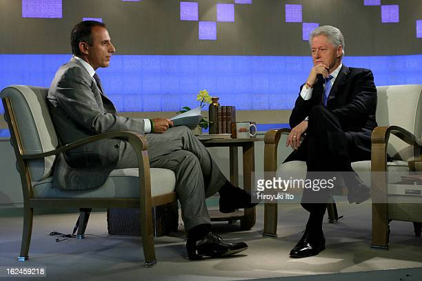 Matt Lauer interviewing Bill Clinton in NBC's The Today Show on Wednesday morning, September 5, 2007.