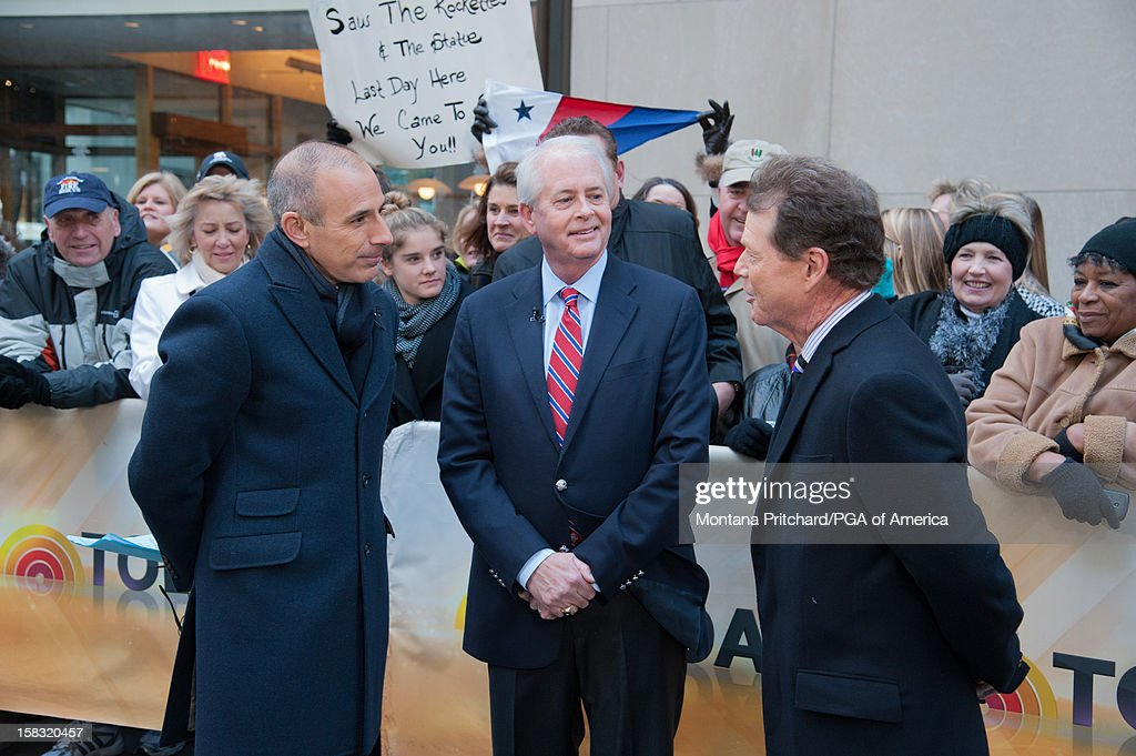 Matt Lauer interviews PGA President Ted Bishop and 2014 Ryder Cup Captain Tom Watson on 'The Today Show' for the US Ryder Cup Captain Announcement on December 13, 2012 in New York City.