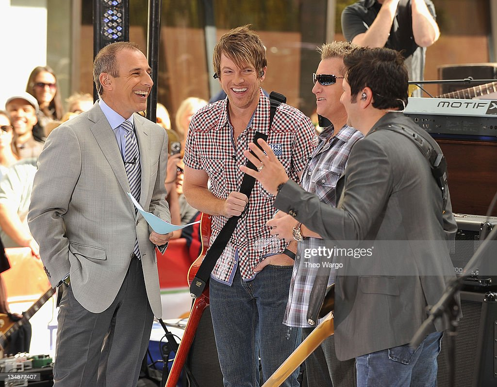 Matt Lauer interviews Rascal Flatts on NBC's 'Today' in Rockefeller Center on June 11, 2010 in New York City.