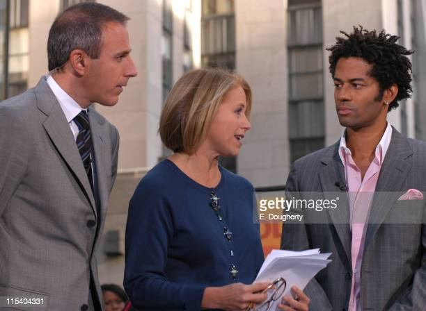 Matt Lauer Katie Couric and Eric Benet during Wynonna Judd Michael McDonald and Eric Benet Perform on NBC's The Today Show October 19 2005 at...