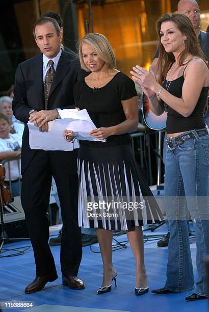Matt Lauer Katie Couric and Gretchen Wilson during Gretchen Wilson Performs on the 'Today' Show September 27 2005 at NBC Studios Rockafeller Plaza in...
