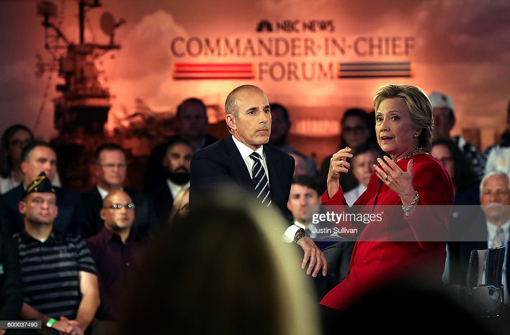 Democratic Presidential Nominee Hillary Clinton Takes Part In Candidate Forum In New York : News Photo