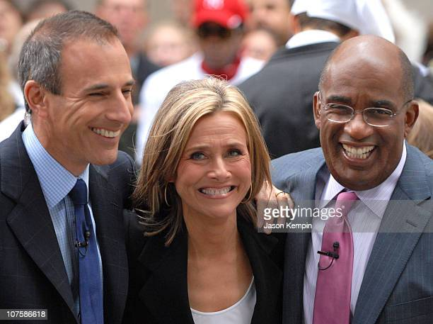 Matt Lauer Meredith Vieira and Al Roker during Meredith Vieira Makes Her Debut Appearance On The Today Show September 13 2006 at Rockefeller Plaza