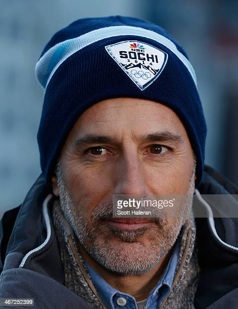 Matt Lauer reports for the NBC TODAY Show in the Rosa Khutor Mountain Village ahead of the Sochi 2014 Winter Olympics on February 6 2014 in Sochi...