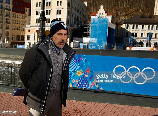 Matt Lauer reports for the NBC TODAY Show in the Rosa Khutor Mountain Village ahead of the Sochi 2014 Winter Olympics on February 6, 2014 in Sochi,...