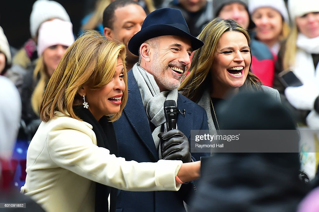 Matt Lauer, Savannah Guthrie,Hoda Kotb are seen on the set of the today show on January 6, 2017 in New York City.