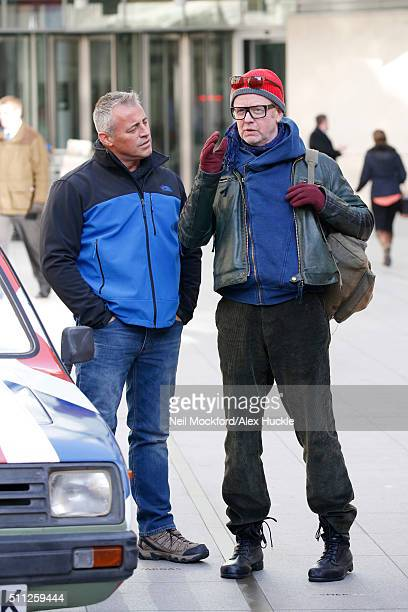 Matt Le Blanc and Chris Evans seen filming scenes for Top Gear at the BBC Portland Place on February 19 2016 in London England