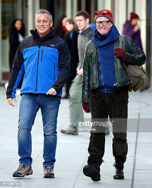 Matt Le Blanc and Chris Evans seen filming scenes for 'Top Gear' at the BBC Portland Place on February 19 2016 in London England