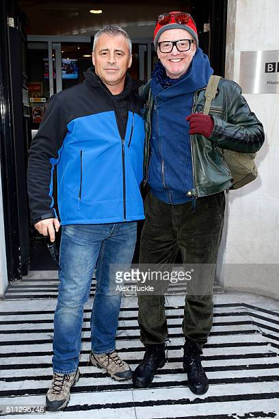 Matt Le Blanc and Chris Evans seen leaving the BBC Radio 2 Studios on February 19 2016 in London England