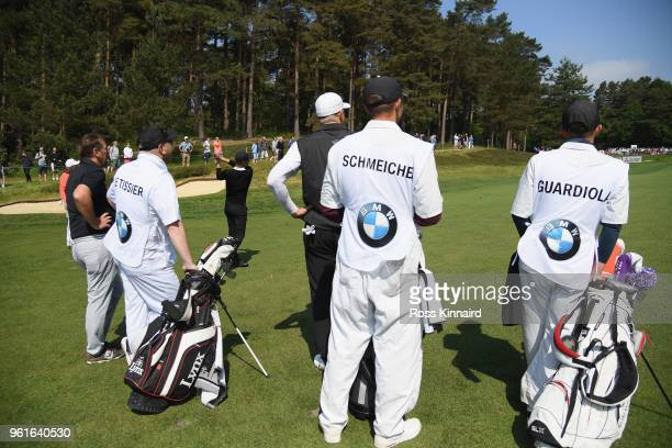 Matt Le Tissier and Peter Schmeichel watch Pep Guardiola during the Pro Am for the BMW PGA Championship at Wentworth on May 23 2018 in Virginia Water...