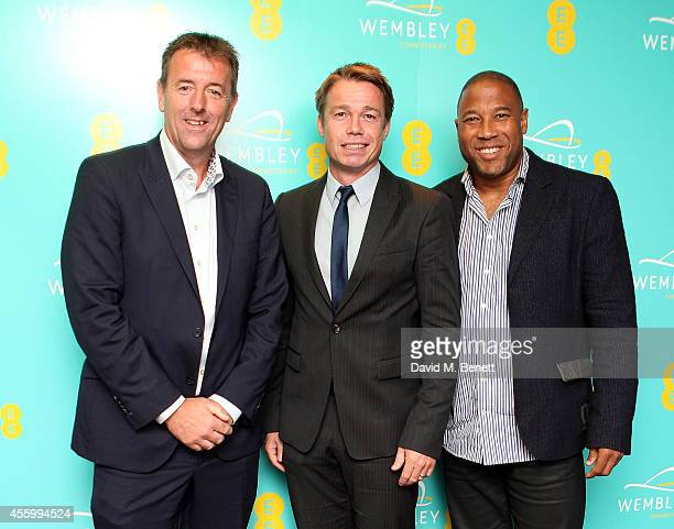 Matt Le Tissier Graeme Le Saux and John Barnes at the Hilton London Wembley to celebrate the next stage of the partnership between EE and Wembley...