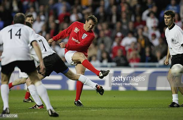 Matt Le Tissier has a shot on goal during the Legends match between England and Germany at The Madejski Stadium on May 3 2006 in Reading England
