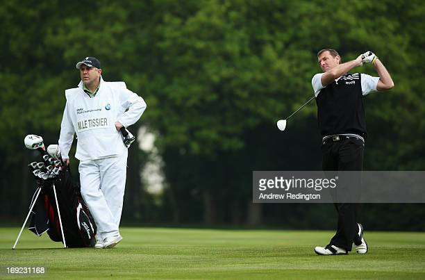 Matt Le Tissier hits an approach shot during the ProAm round prior to the BMW PGA Championship on the West Course at Wentworth on May 22 2013 in...