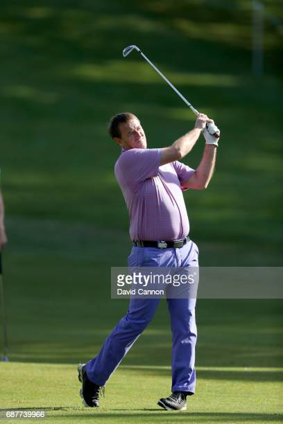 Matt Le Tissier of England the former football player plays a shot during the proam for the 2017 BMW PGA Championship on the West Course at Wentworth...