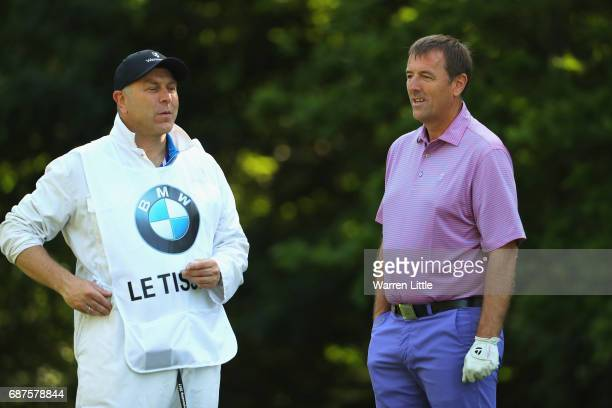 Matt Le Tissier speaks with his caddie during the BMW PGA Championship ProAM at Wentworth on May 24 2017 in Virginia Water England