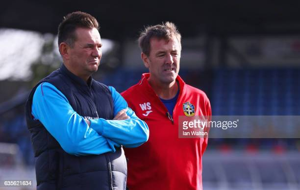 Matt Le Tissier takes part in a training session alongside Paul Doswell manager of Sutton United during a Sutton United FA Cup media day on February...