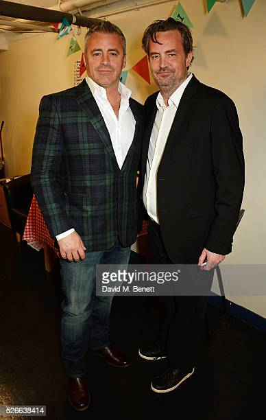 Matt LeBlanc and Matthew Perry pose backstage following a performance of The End Of Longing Matthew Perry's playwriting debut which he stars in at...