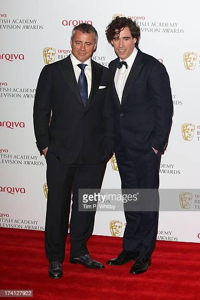 Matt LeBlanc and Stephen Mangan pose in the press room at the Arqiva British Academy Television Awards 2013 at the Royal Festival Hall on May 12 2013...