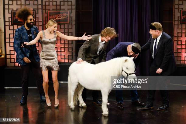 Matt LeBlanc Hailey Baldwin and William H Macy play a game of NUZZLE WHAAA with James Corden during 'The Late Late Show with James Corden' Monday...